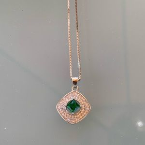 Jewelry - Sterling Silver necklace, CZ & synthetic Emerald